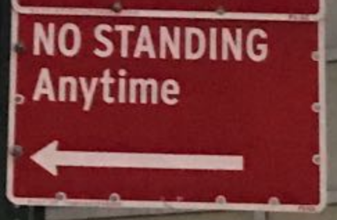 NYC street parking: No Standing Anytime sign