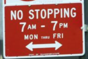 NYC street parking: No Stopping with Hours sign