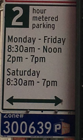 NYC street parking: parking meter sign