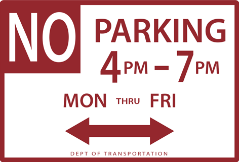 NYC street parking: No Parking with Hours sign