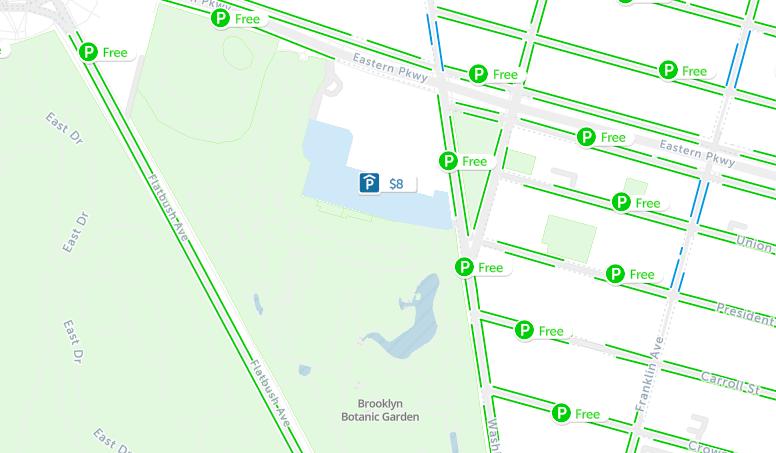 brooklyn botanical garden parking map nyc