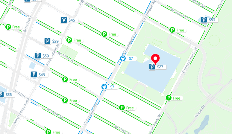 american museum of natural history parking map nyc