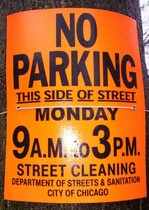 chicago street cleaning sign
