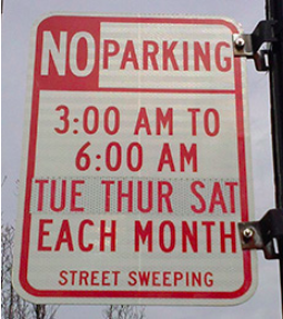 oakland street cleaning sign