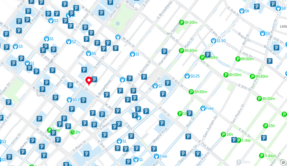 downtown los angeles parking map spot angels