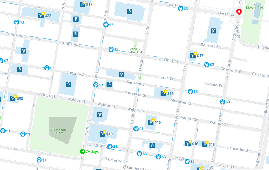 map of philadelphia free parking spot angels