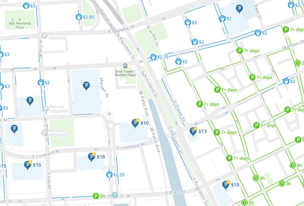 map of free parking in Baltimore - SpotAngels
