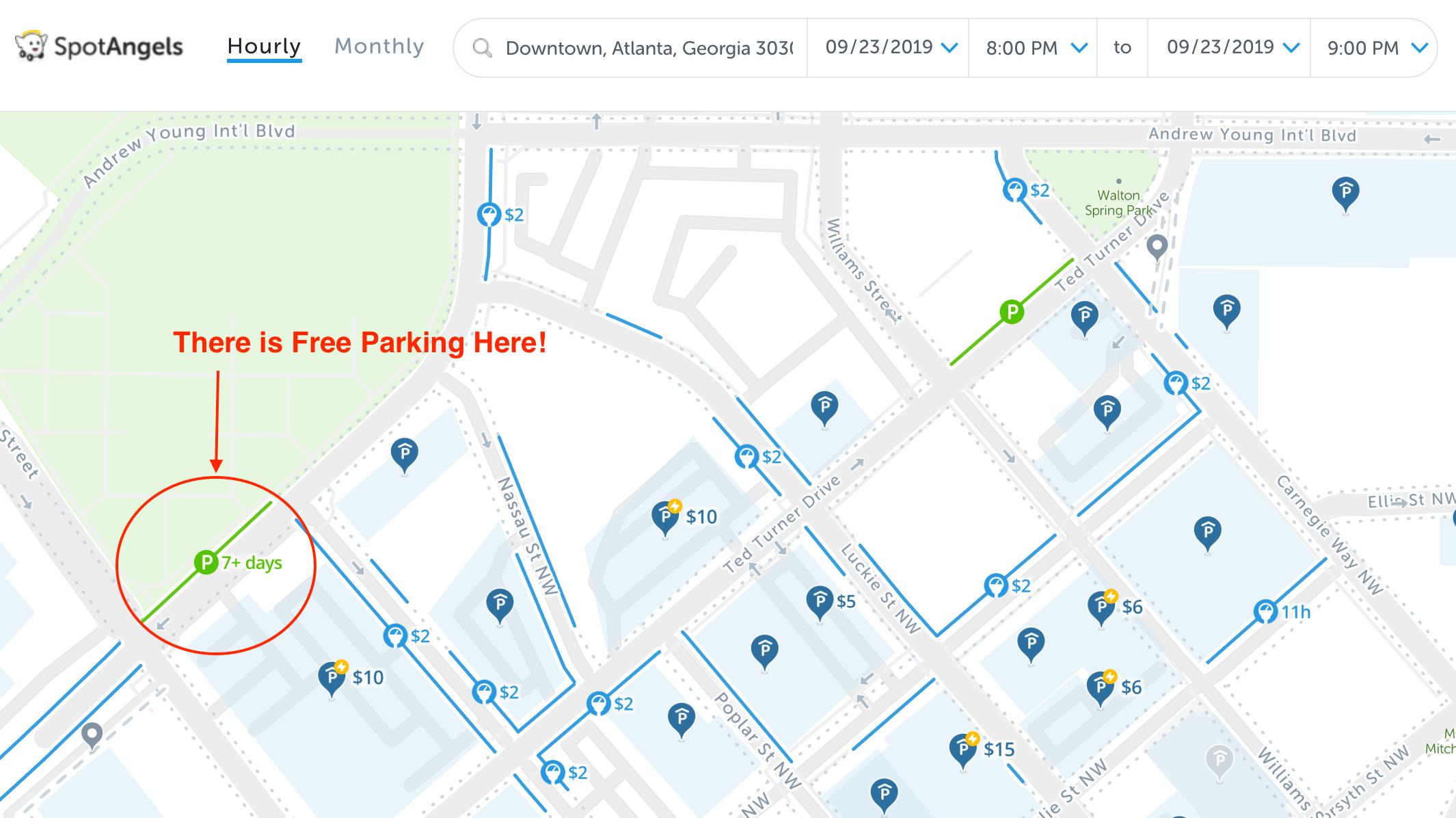 2020: Map of Free Parking in Atlanta, GA – SpotAngels