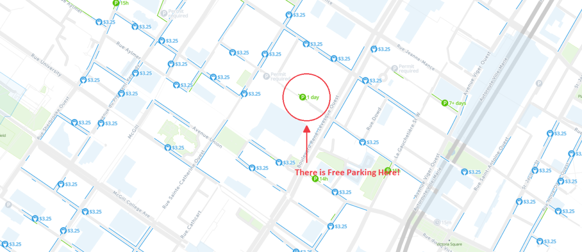 free parking map montreal qc canada