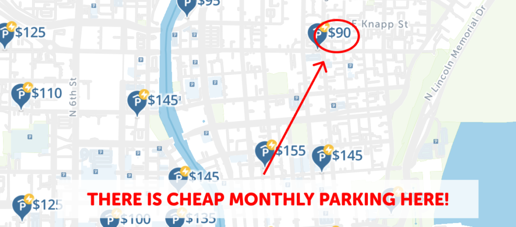 Milwaukee Monthly Parking Map- SpotAngels